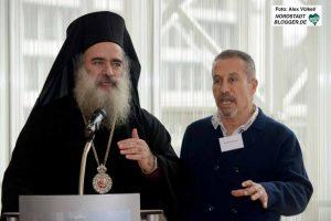 Erzbischof Attalah Hanna aus Jerusalem mit Organisator Dr. Hisham Hammad.