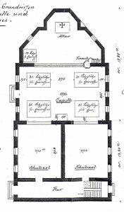 Erdgeschoss-Grundriss der Krimkapelle und der Schule (Stadtarchiv Dortmund, Bestand 3, Nr. 2950)