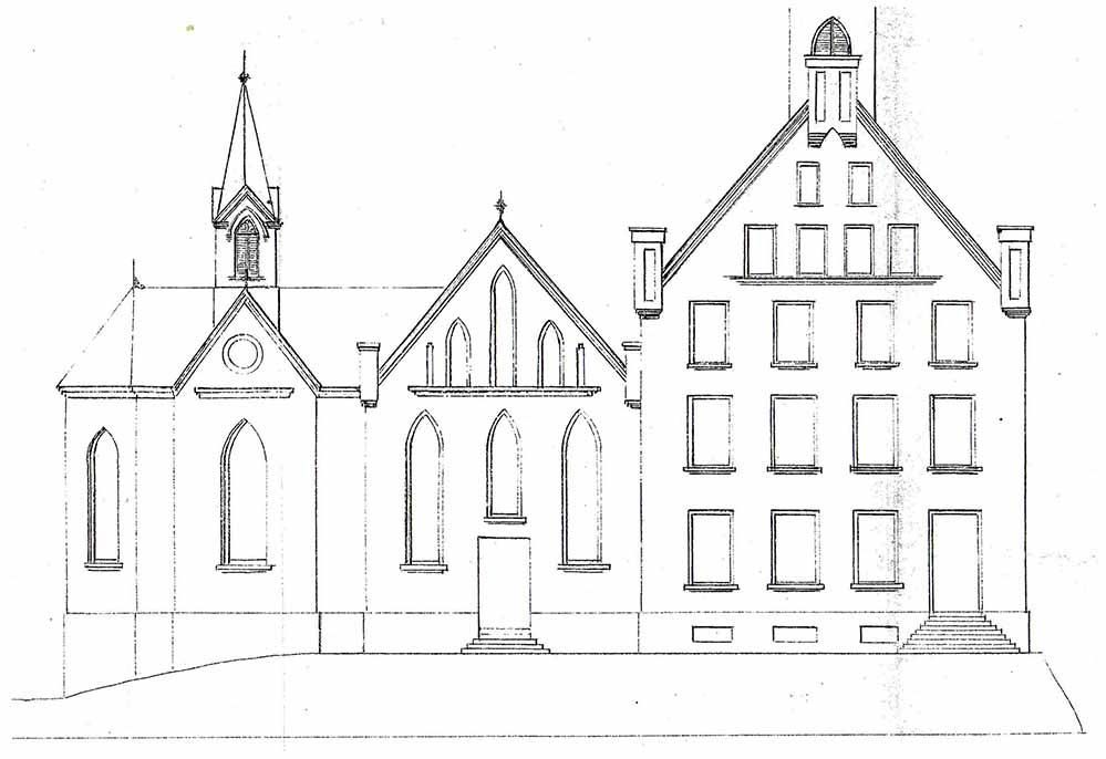 Nördliche Seitenansicht der Krimkapelle und Schule (Stadtarchiv Dortmund, Bestand 3, Nr. 2950)