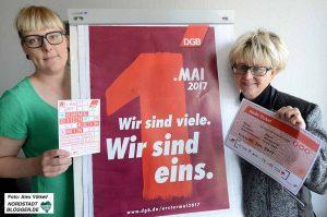 Marijke Garretsen und Jutta Reiter werben für die Teilnahme am 1. Mai. Foto: Alex Völkel