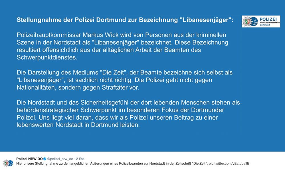 """Hier die Stellungnahme der Polizei zu den angeblichen Äußerungen eines Polizeibeamten zur Nordstadt in der Zeitschrift """"Die Zeit""""."""