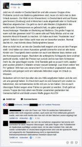Alexander D. beschwert sich auf Facebook über die überregionale Berichterstattung. (Screenshot)