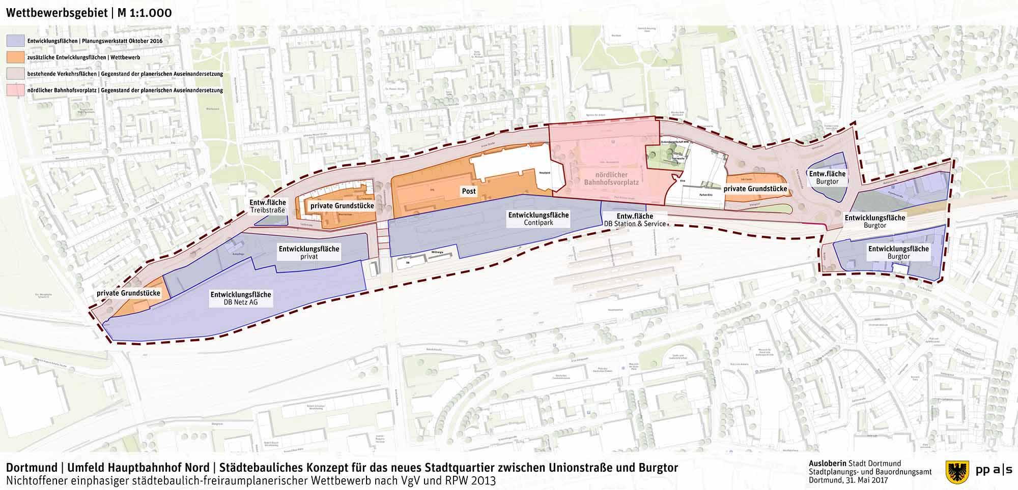 Das Wettbewerbsgebiet auf der Nordseite des Dortmunder Hauptbahnhofs.