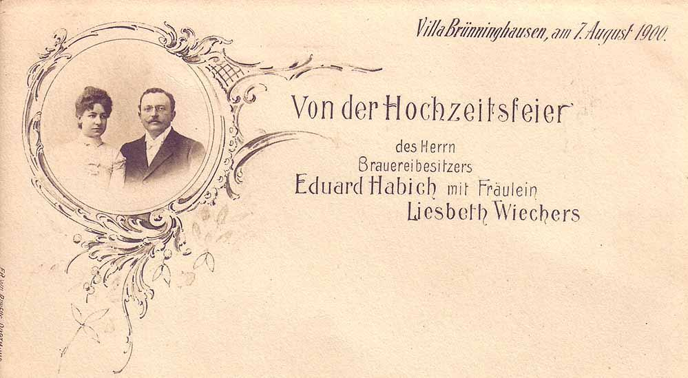 Ansichtskarte zur Hochzeit von Habich und Wiechers. Bild: Sammlung Klaus Winter