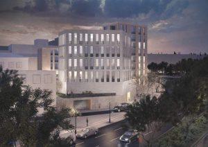 Ein Entwurf, der das mittlere Gebäude und eine Garageneinfahrt zeigt. Grafik: Architekturbüro Koschany + Zimmer.