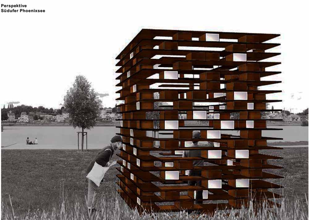 Aussenansicht der Gedenkstätte Grafik: Konzeptentwurf von Pia Emde und der FH Dortmund