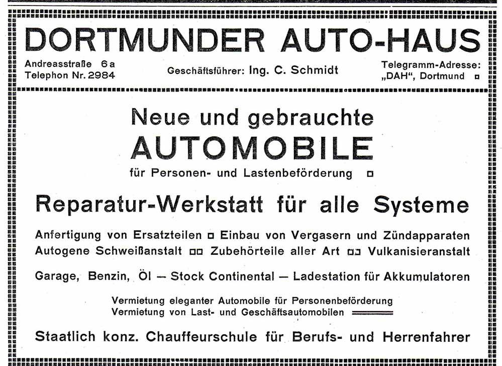 "Werbeanzeige ""Dortmunder Autohaus"" (Dortmunder Adressbuch, 1912)"