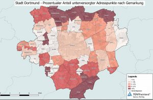 """Die """"weißen Flecken"""" in der Breitbandversorgung sind sehr unterschiedlich verteilt. Karte: Stadt Dortmund"""