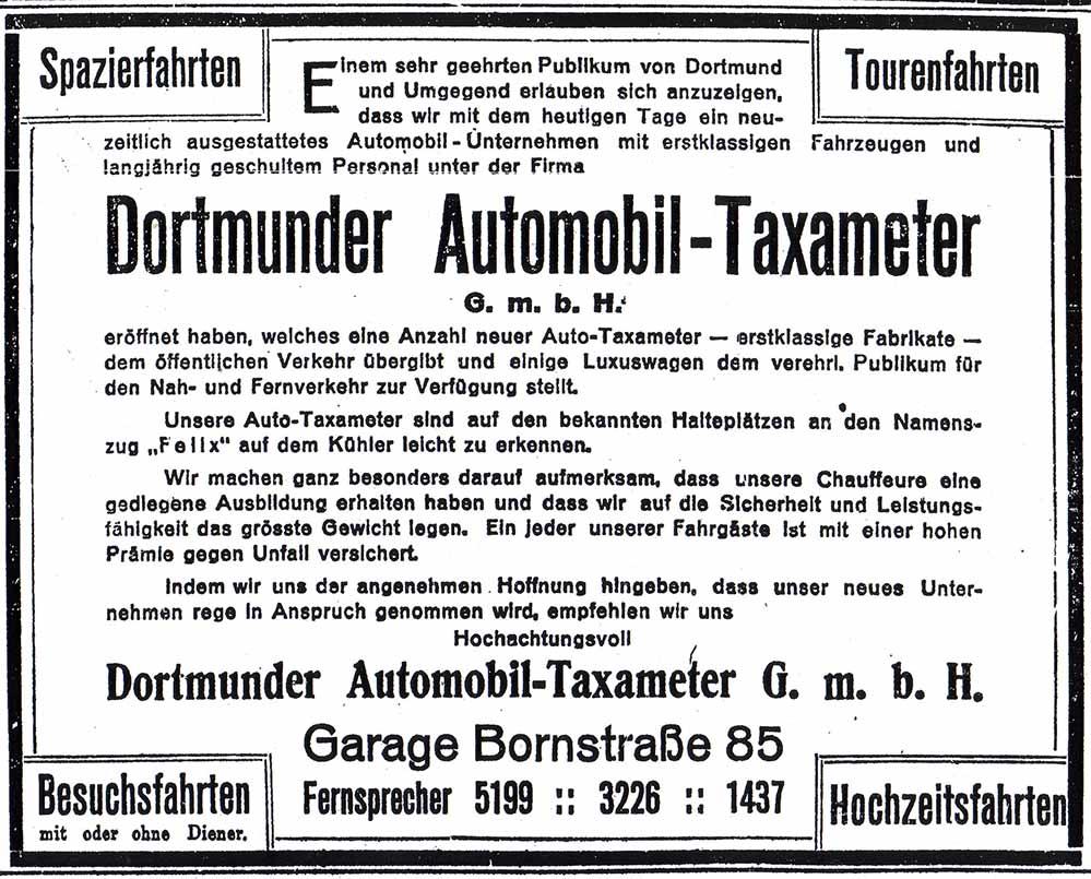 "Zeitungsinserat zur Geschäftseröffnung ""Dortmunder Automobil-Taxameter"" (Dortmunder Zeitung, 07.07.1912)"