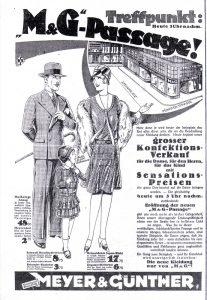 Ein Inserat von Meyer & Günther - Kaufhaus am Steinplatz - in der Dortmunder_Zeitung aus dem Jahr 1929.
