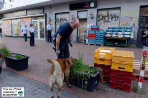 """Diensthund """"Basco"""" avancierte im Laufe der Schwerpunktkontrollen zum größten Feind desDrogenhandels in der Nordstadt."""