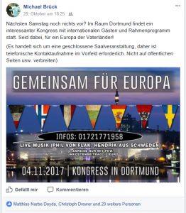 """Michael Brück mobilisiert für den Kongress """"Gemeinsam für Europa"""" in Dortmund."""