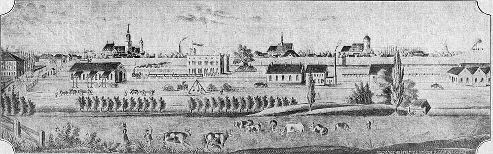 Ansicht Dortmunds von Norden, Mitte der 1850er Jahre, von der Klischee-Anstalt C. L. Krüger GmbH gefertigt.