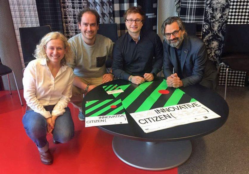 Jasmin Vogel (Dortmunder U) mit Benedikt van Kampen, Patrick Jaruschowitz und Jürgen Bertling (Fraunhofer UMSICHT). Foto: Dortmunder U.