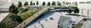 Anknüpfend an den Blücherpark eine U-förmige Spange entlang der Bahntrasse mit spektakulärem Rampenbauwerk am nördlichen Bahnhofsvorplatz. So sieht es das Büro Raumwerk. Repros: Jochim vom Brocke