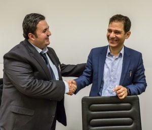Dr. Fadi Hakim (l.) im Gespräch mit Prof.Dr. Malek Bajbouj.