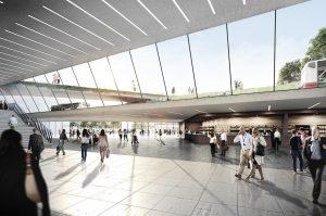 Entwurf der Bahnhof-Nordlobby des Architekturbüros Raumwerk