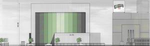 Mit einer Farbgestaltung soll die Höhe und Wucht des Baukörpers abgemildert werden.