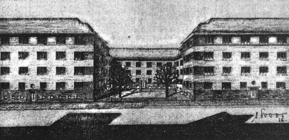 Architektenzeichnung des Bauvorhabens Brackeler Straße 28-36 (Dortmunder Zeitung, 20.11.1936)