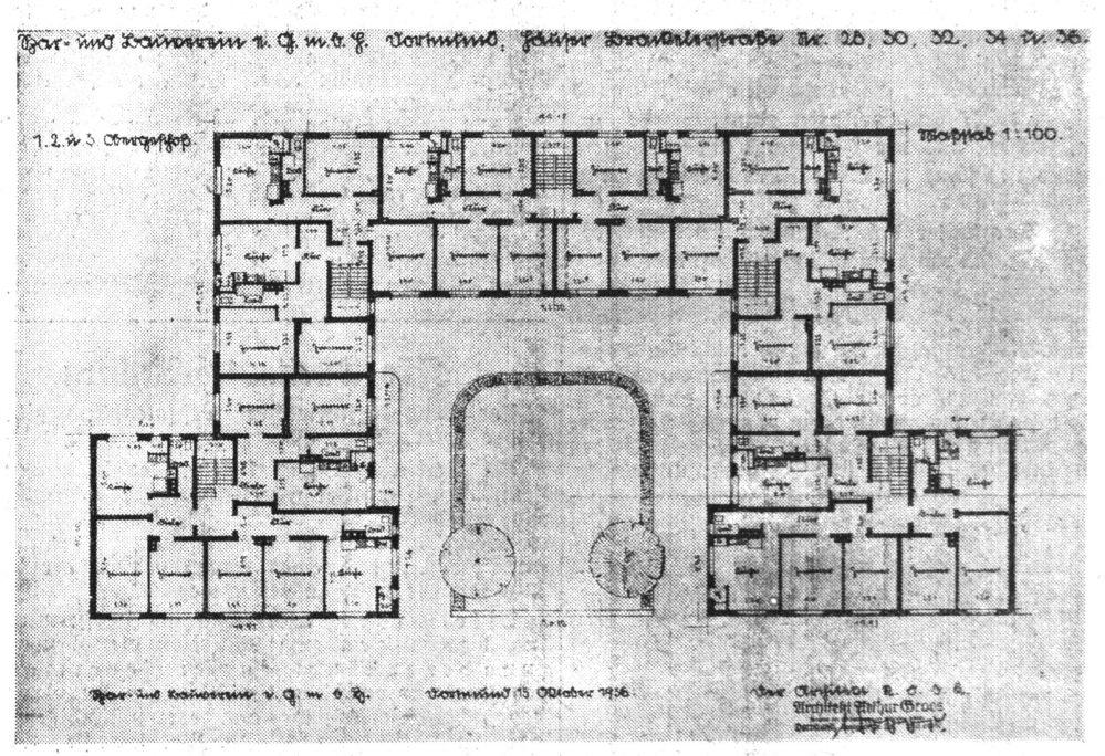 Grundriss der baugleichen Obergeschosse nach dem Plan des Architekten Groos (Dortmunder Zeitung, 20.11.1936)
