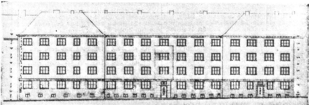 Architektenzeichnung mit aufgestocktem Mittelteil (Dortmund Zeitung, 11.05.1937)