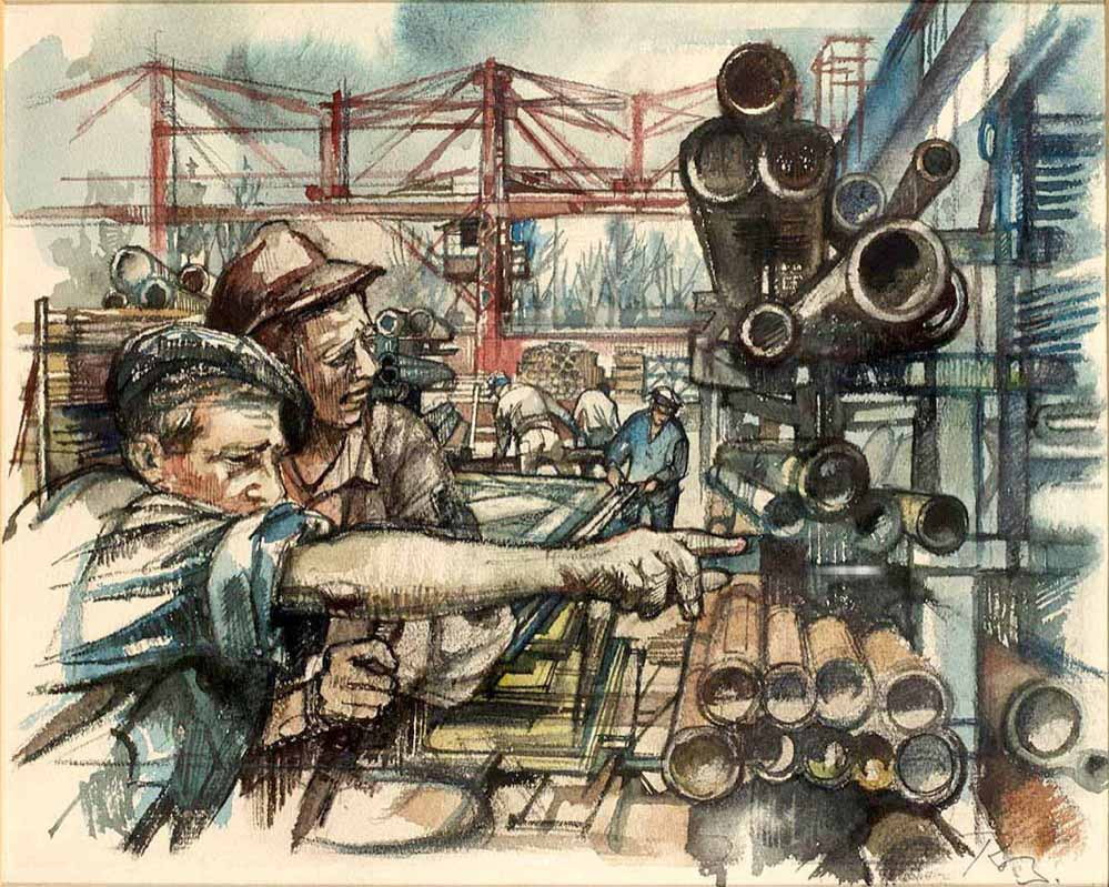 Lager der Kesselbauwerkstoffe (1958). Copyright: Kunststiftung Ruth Baumgarte