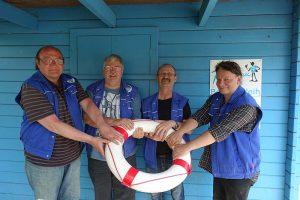 Vier der engagierten und sympathischen Mitarbeiter des Bootsverleihs (v.l.n.r.): Horst Strupat,Karlheinz Olek, Manfred Neumann und Christoph Dressel