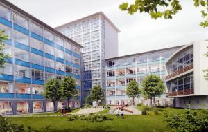 Blick in den zukünftigen Innenbereich des Gebäudekomplexes