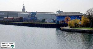 Blick vom Standort des DIWN auf den Dortmunder Hafen.