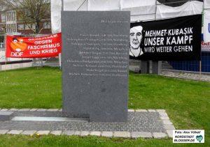 Am NSU-Mahnmal unweit der NS-Mahn- und Gedenkstätte Steinwache versammelten sich AntifaschistInnen.