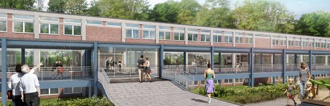 Für gehobene Ansprüche: Gebäudekomplex des Robert-Schuman-Berufskollegs soll zur Wohnanlage umgebaut werden