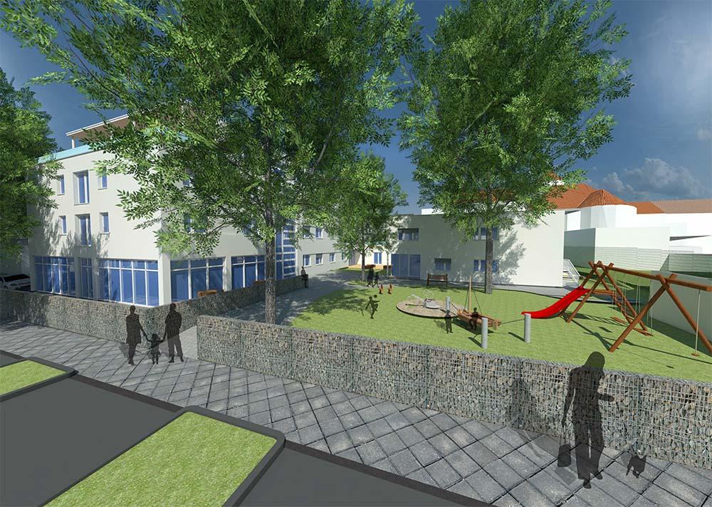 So soll das neue Diakoniezentrum in der Kirchenstraße aussehen.