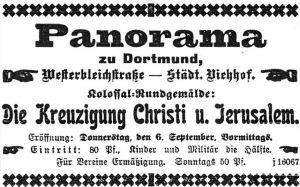 Eröffnungsanzeige für das Panorama (Dortmunder Zeitung, 04.09.1900)