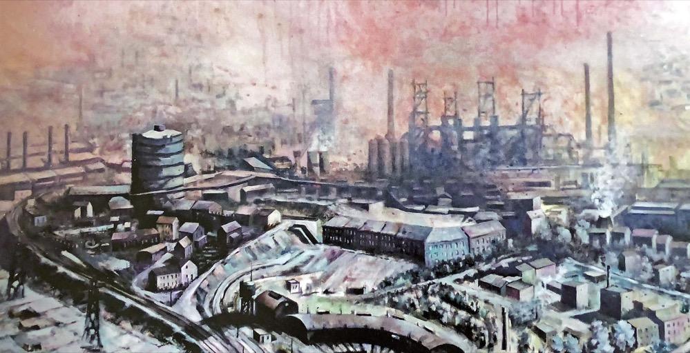 Das Oberhausener Stahlwerk zeigt das Titelbild der Ausstellung im Hoesch-Museum.