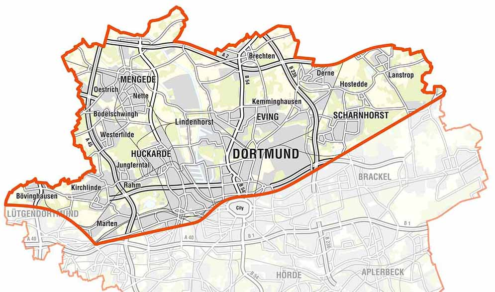 """Sieben Stadtbezirke sind in """"Nordwärts"""" ganz oder teilweise einbezogen. Karte: Stadt Dortmund"""