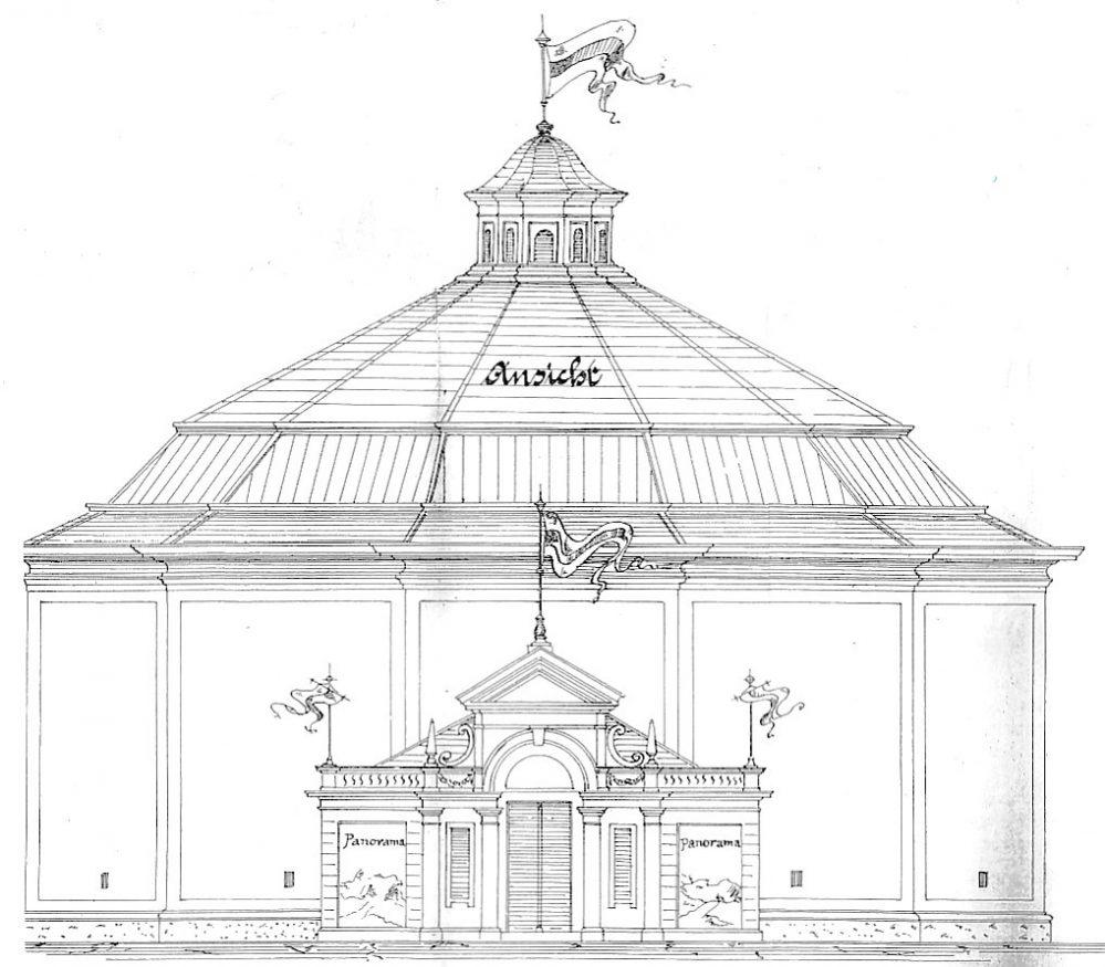 Panorama mit Eingangsbereich, Bauzeichnung (Stadtarchiv Dortmund)