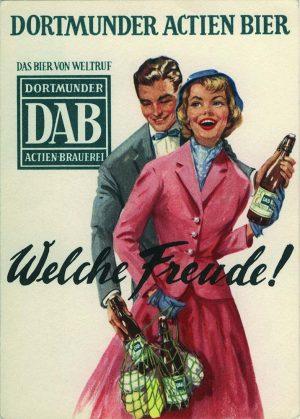 Eine Werbepostkarte der Actien-Brauerei von 1938.