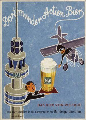 Eine Werbepostkarte der Actien-Brauerei aus den 50er Jahren.