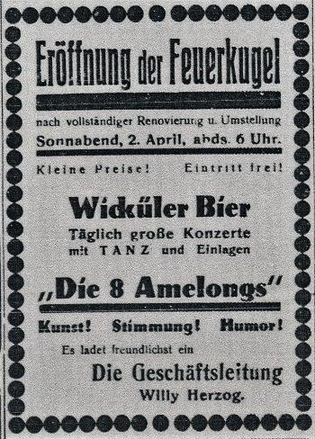 """Anzeige zur Eröffnung der """"Feuerkugel"""" unter der Leitung von Willy Herzog (Dortmunder Zeitung, 02.04.1932)"""