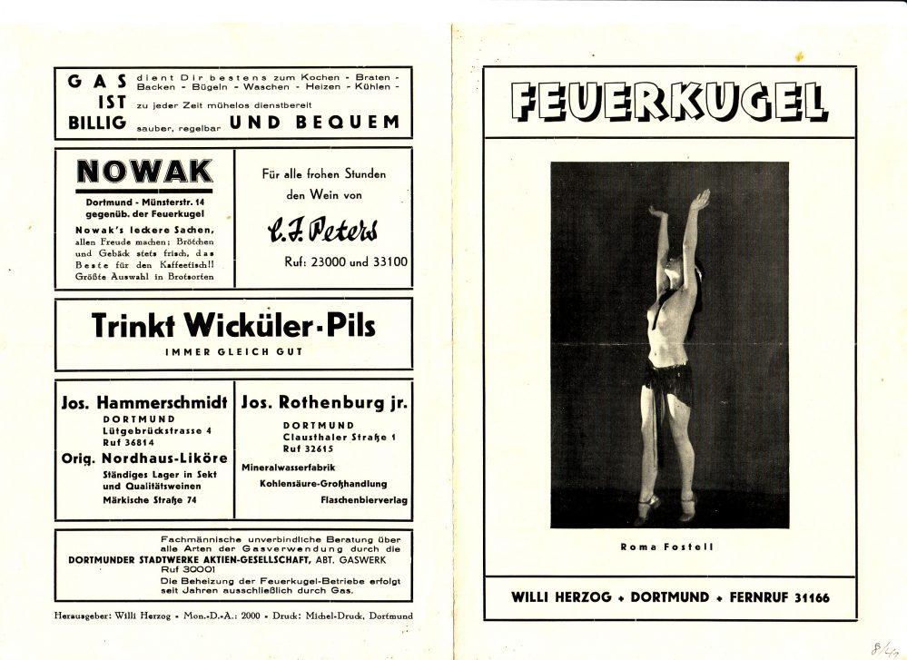Programm der Feuerkugel 16.-31.08.1941, Außenseiten (Slg. Klaus Winter)