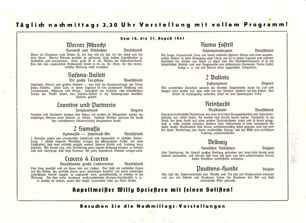 Programm der Feuerkugel 16.-31.08.1941, Innenseiten (Slg. Klaus Winter)