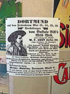 Historisches Plakat der Buffalo Bill-Show im Fredenbaumpark 1891. Foto: Joachim vom Brocke