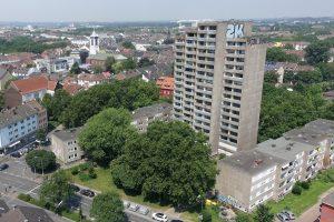 Auf dem Grundstück des Hochhauses muss eine Gemeinschaftsfläche entstehen. Foto: Ole Corneliussen