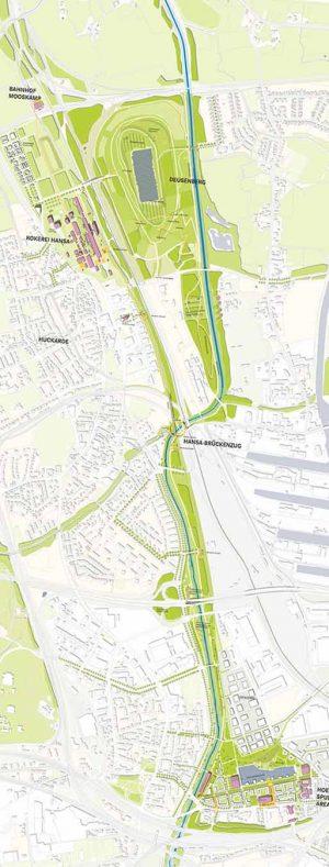 Der Grünzug könnte von der Rheinischen Straße bis zum Bahnhof Mooskamp hinter dem Deusenberg führen. Geplant ist auch eine Anbindung des Fredenbaumparks.