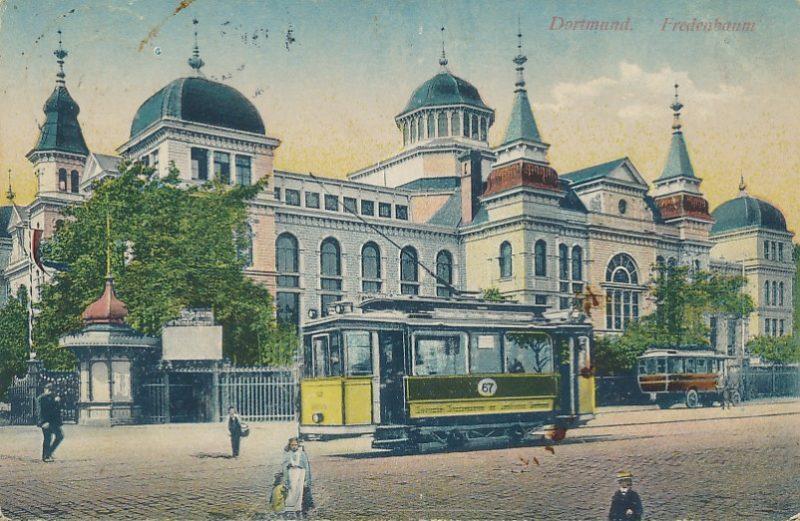 Zielpunkt Fredenbaum um 1910. Neben der Haltestelle befand sich auch das erste Straßenbahn-Depot – für 48 Pferde.