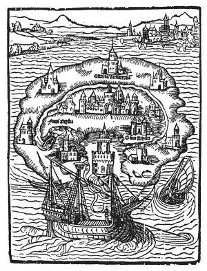 """""""Utopia"""": Titelholzschnitt der Erstausgabe von 1516. Die deutsche Übersetzung erfolgte 1524. Bild: Wikipedia"""