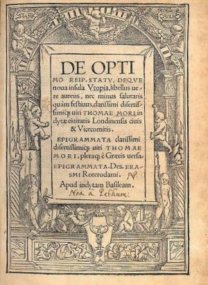 """Faksimile der ersten Seite von """"Utopia"""", Druckausgabe 1518. Bild: Wikipedia"""