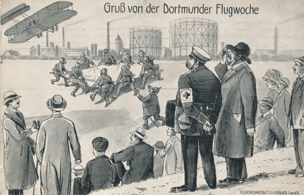 Dortmunder Flugwoche am Fredenbaum 1911, Scherzkarte (Sammlung Klaus Winter)