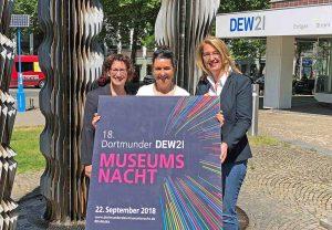 Freuen sich auf eine tolle Museumsnacht mit vielen Geburtstagsfeiern: Heike Heim (DEW21), Kerstin Müller-Düsberg (Projektleiterin), Dr. Dr. Elke Möllmann (Geschäftsbereichsleiterin Städt. Museen). Foto: Joachim vom Brocke