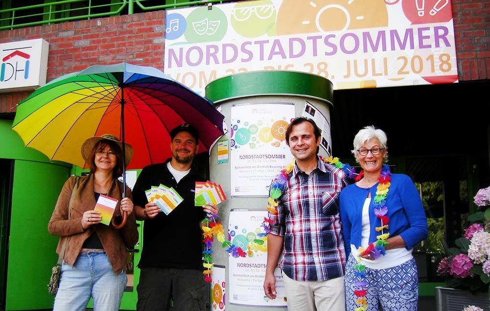 Freuen sich auf den Nordstadtsommer 2018: (vl): Ulrike Markowski, Richard Stahl, Levent Aslan und Thekla Pichler. Foto: Sascha Fijneman